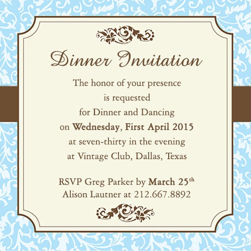 Forma Marvelous Dinner Party Invitation Wording