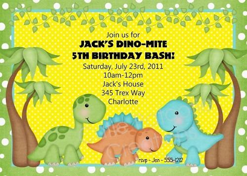 Dinosaur Birthday Party Invitations Printable Cute With Dinosaur