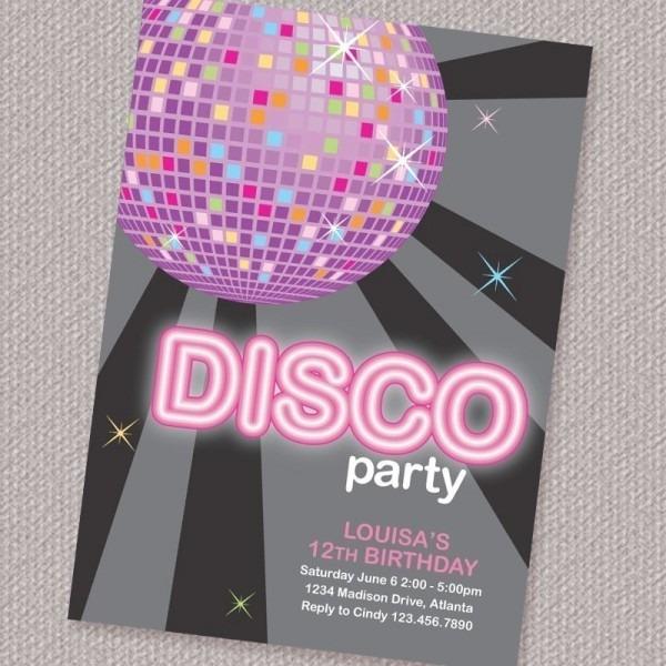 Disco Invitations Free Template Epic With Disco Invitations Free