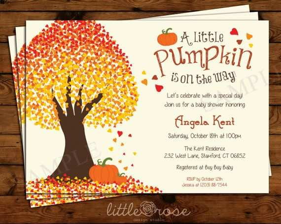 Fall Themed Baby Shower Invitations