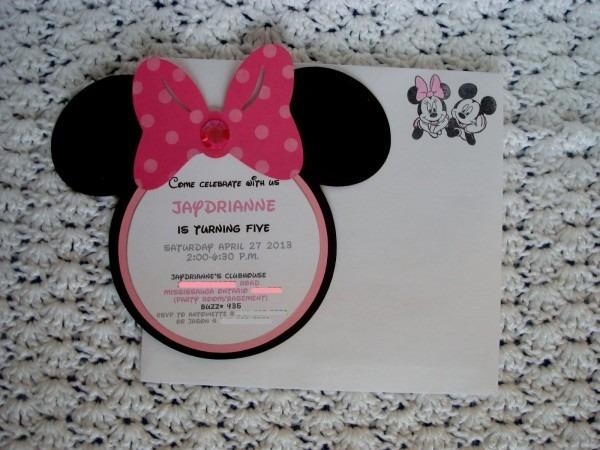 X Q Cute Minnie Mouse Birthday Invitations Diy