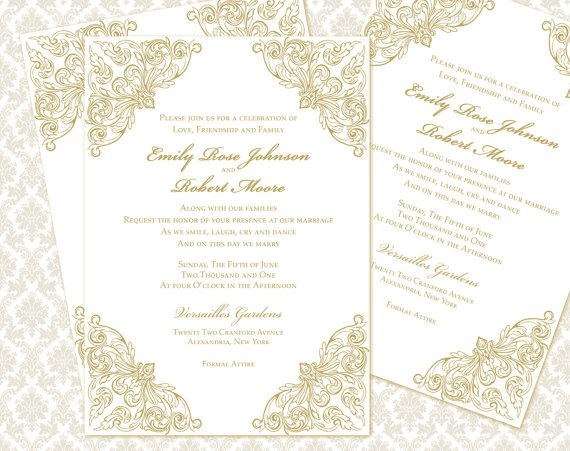 Diy Wedding Invitation Template Set 5x7 Invitation Enclosure Cards