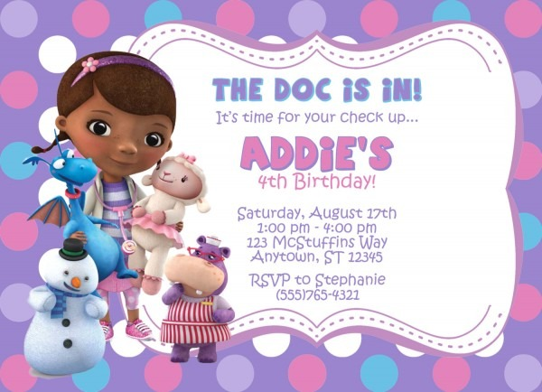 Doc Mcstuffins Birthday Invitations Doc Mcstuffins Birthday