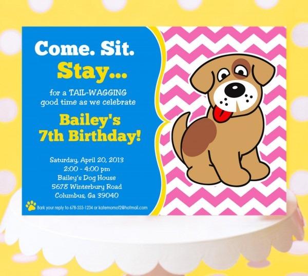 Dog Birthday Party Invitations Dog Birthday Party Invitations With