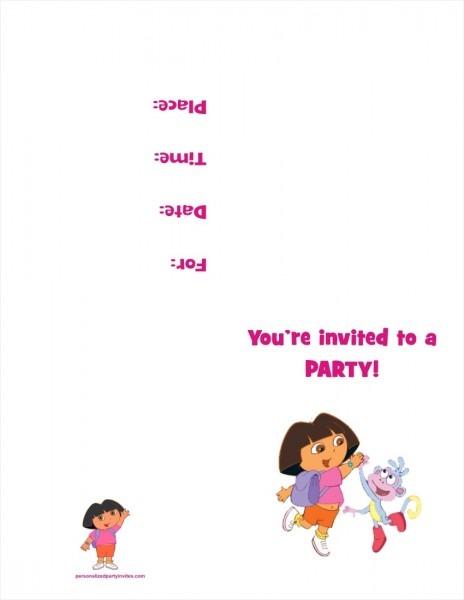 Dora The Explorer Free Printable Birthday Party Invitation