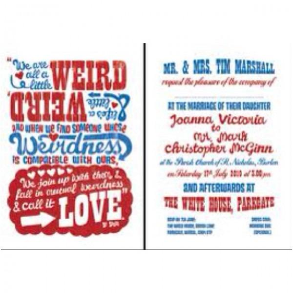Dr Seuss Weird Quote Wedding Invitation