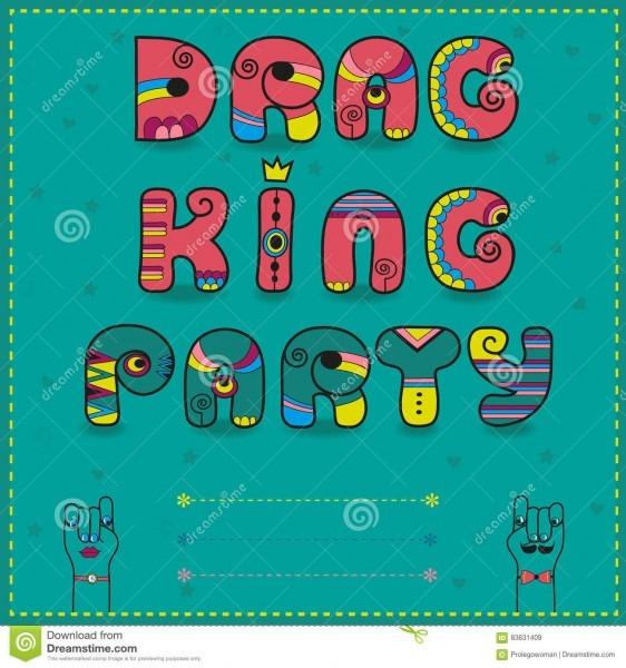 Drag King Party  Funny Invitation Stock Illustration