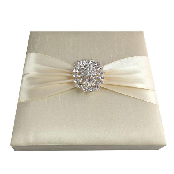 Dupioni Silk Hinged Lid Invitation Box For Events With Dupioni