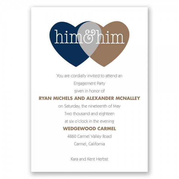 Shared Love Mr  And Mr  Engagement Party Invitation