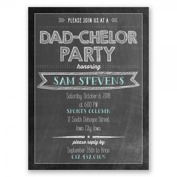 Dadchelor Party Petite Baby Shower Invitation