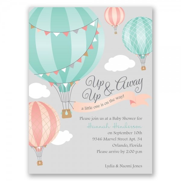 Up, Up & Away Petite Baby Shower Invitation