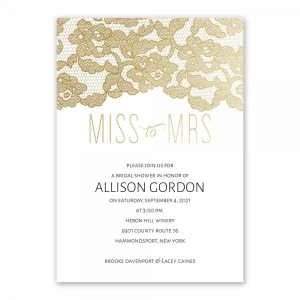 Miss To Mrs  Foil Bridal Shower Invitation