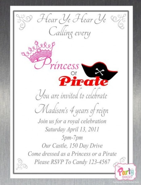 17 Best Back To School Pirate & Princess Party Images On Best Party Invitation Collection