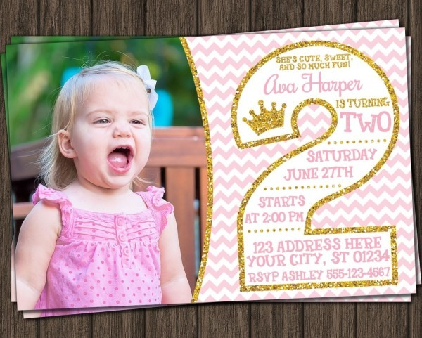 Princess 2nd Birthday Invitation In Pink And Gold With Photo In