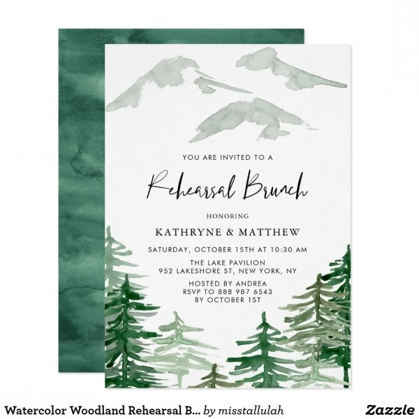 Watercolor Woodland Rehearsal Brunch Invitation In 2018