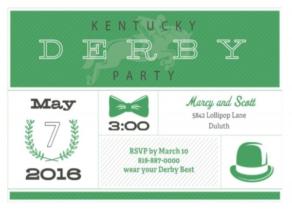 Kentucky Derby Party Invitations Green Hat And Bow