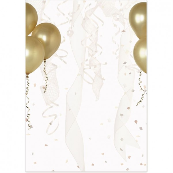 Gold Balloons Flat Invitations