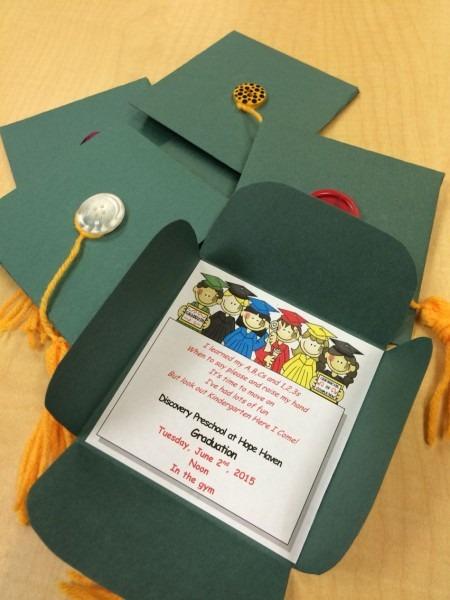Preschool Graduation Invites, Diy  Construction Paper, Yarn, And