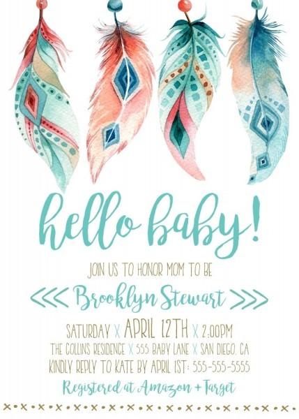 Boho Baby Shower Invitation, Instant Download Template, Gender