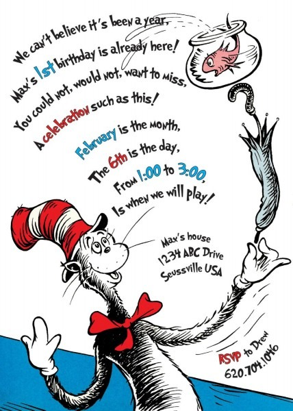 The Cat In The Hat Birthday Invitation  Printable
