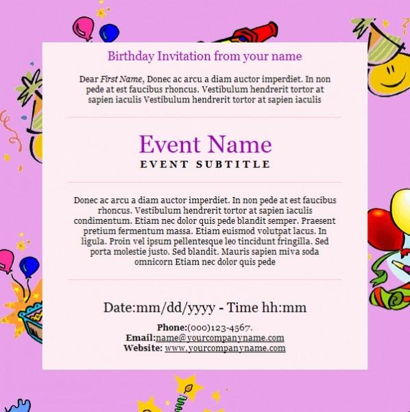 Invitation  E Birthday Invitations
