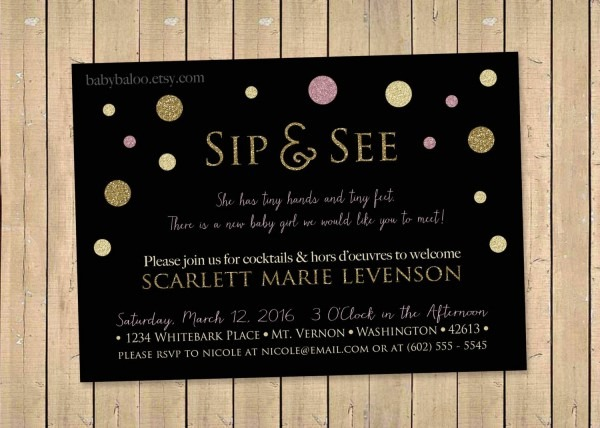 Sip And See Garden Sip & See Party Invite, Meet The Baby, Baby