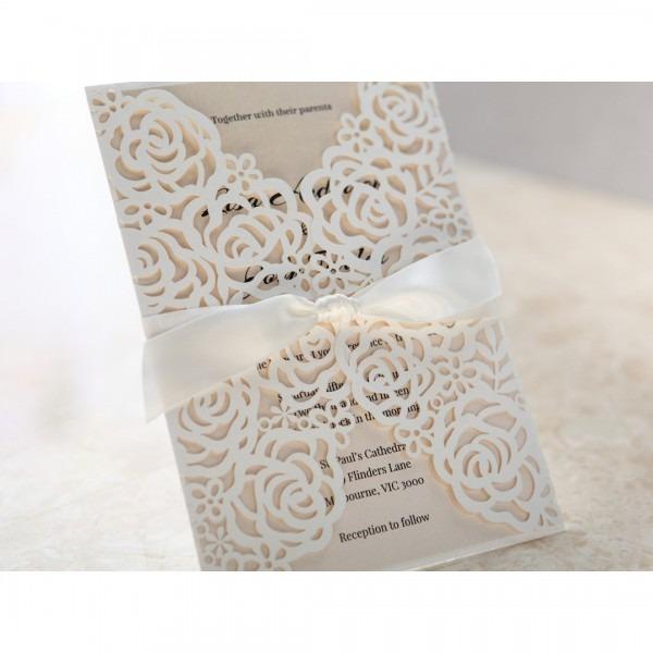 Rose Pattern Laser Cut Wedding Invitations