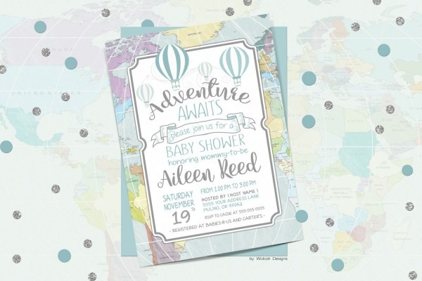 Adventure Awaits Baby Shower Invitation, Hot Air Balloons, Around