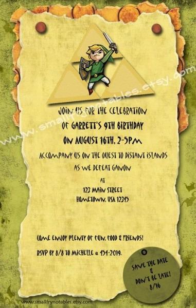 Invitation Ideas  Zelda Party Invitations
