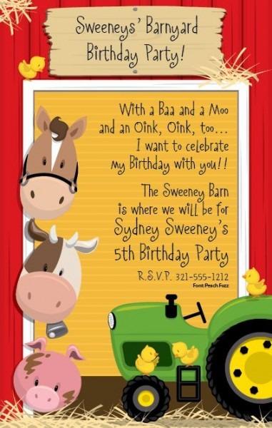 Invitation Template  Farmyard Party Invitations Free