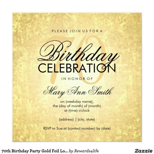 70th Birthday Party Gold Foil Look Confetti Stars Invitation