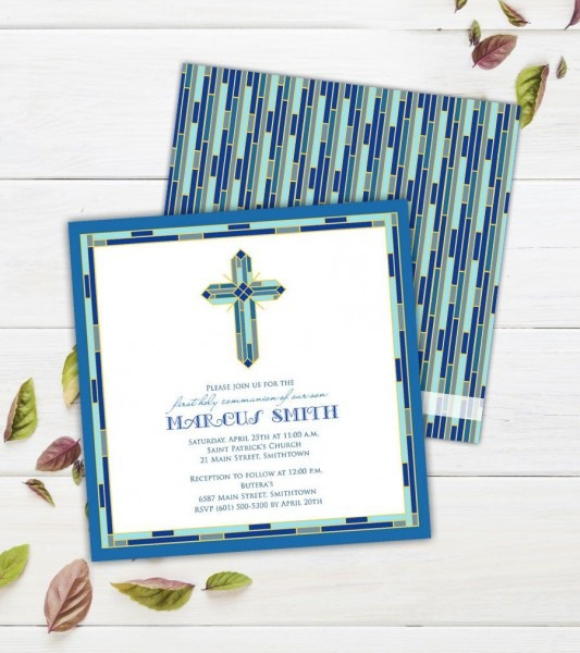 Stained Glass Cross Communion Invitations