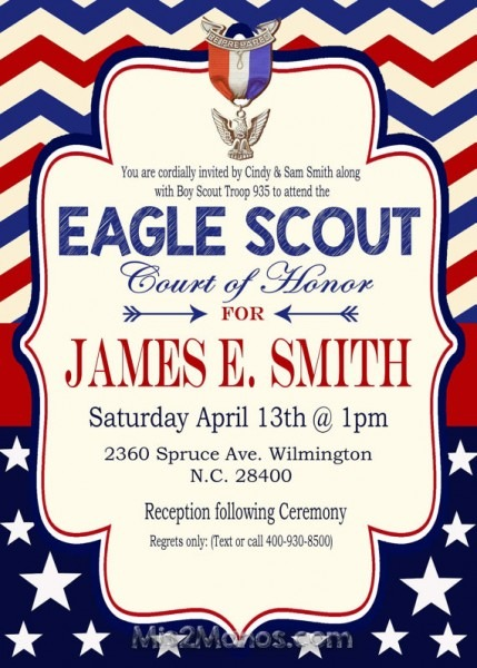 Eagle Court Of Honor Invitation Free Template Best With Eagle