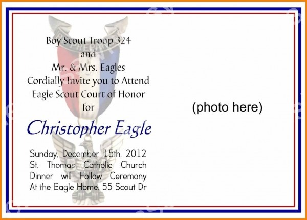 Eagle Scout Invitation Template Free Lively Court Of Honor Unique