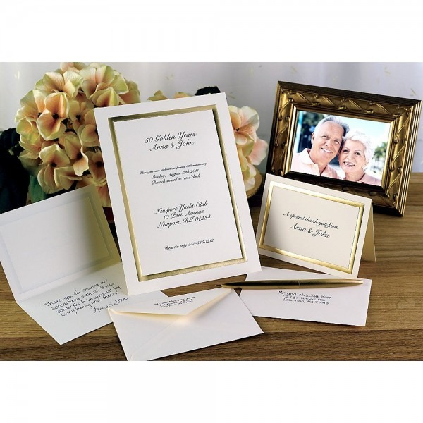 Custom Printed Premium Invitations, Gold Frame, Flat, 5 1 2  X 7 3