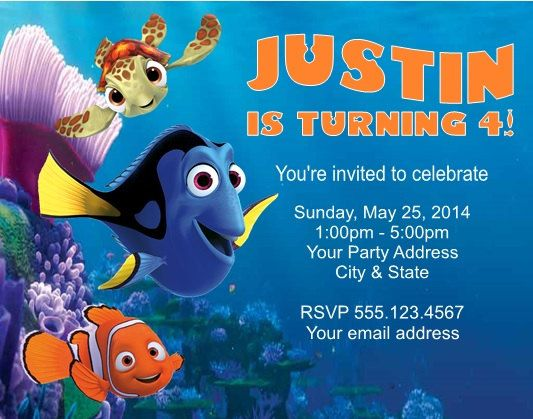 Invitation  Finding Dory Invitation Template Free