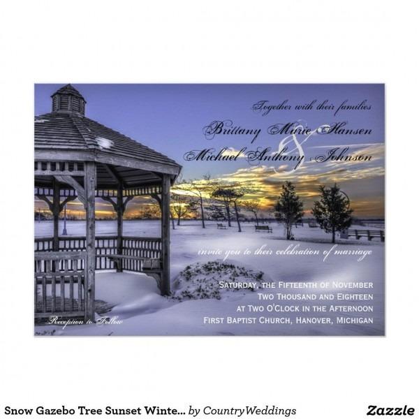Snow Gazebo Tree Sunset Winter Wedding Invitations