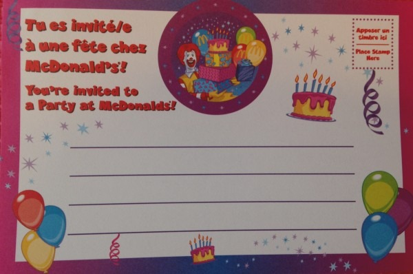 Elegant Of Mcdonalds Birthday Invitation Cards Party Invitations