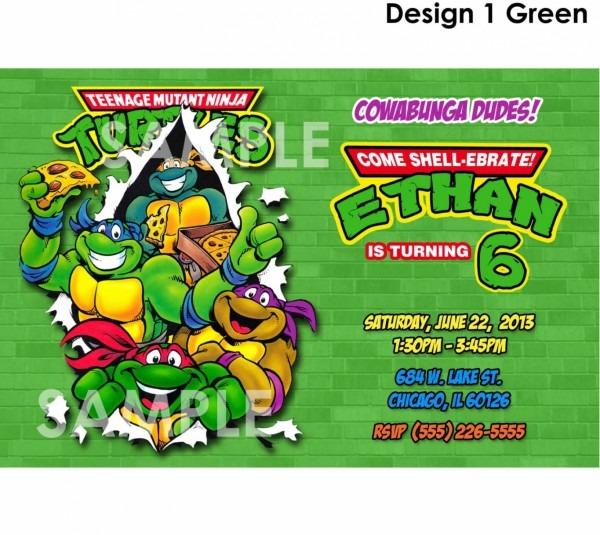 Elegant Teenage Mutant Ninja Turtles Birthday Invitations 11 For