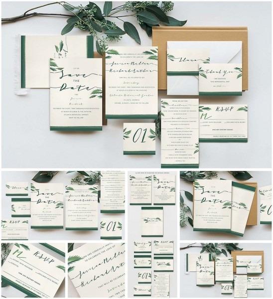 Elegant Tropical Wedding Invitation Cards