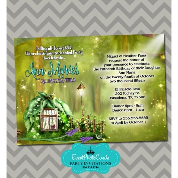 Enchanted Forest Sweet 15 Invitations, 15th Birthday Party Invites