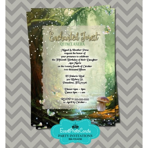 Enchanted Forest Quinceanera Invitations, Sweet Fifteen Invites
