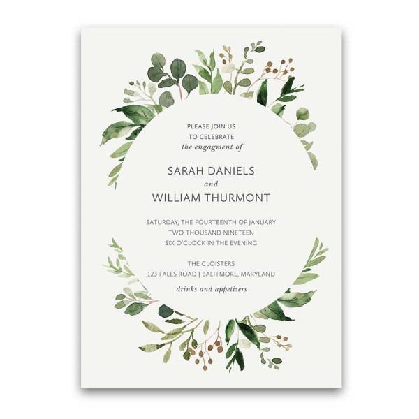 Wedding Engagement Party Invitations Greenery Wreath
