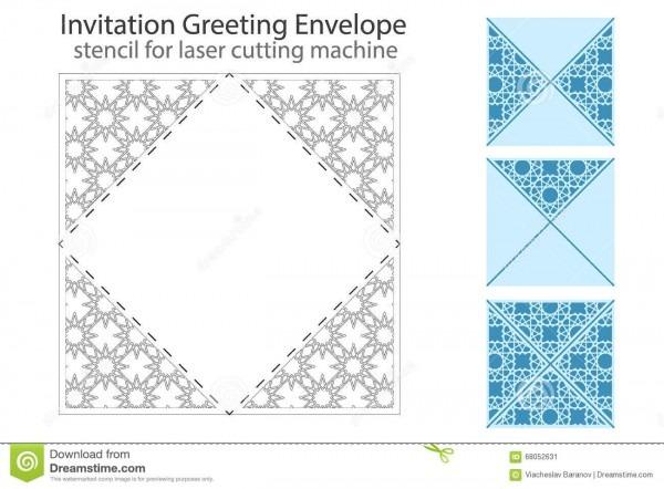 Envelope Template For Laser Cut Stock Vector