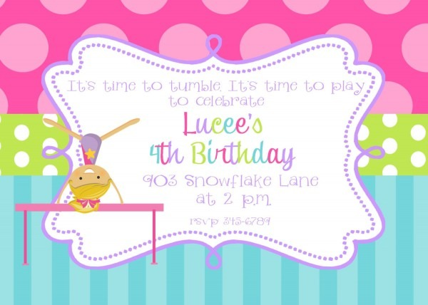 Epic Gymnastics Birthday Party Invitations 46 For Invitations