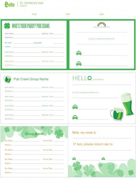 St  Patrick's Day Pub Crawl Printable