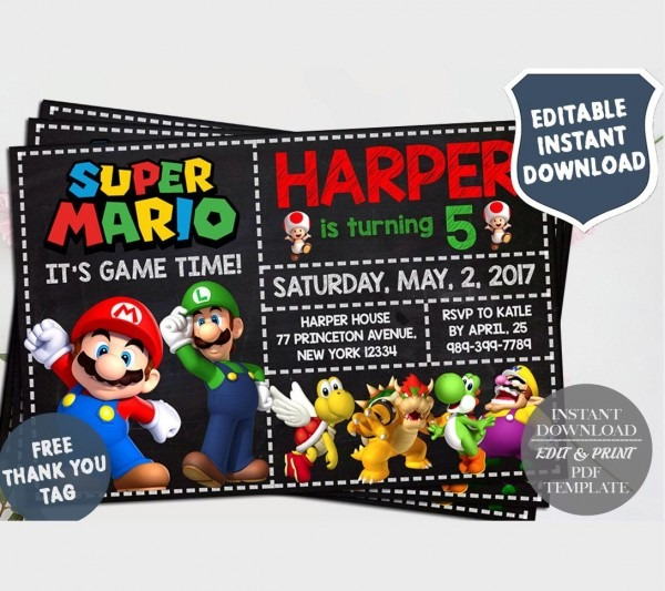 Super Mario Birthday, Super Mario Invitation Instant Download