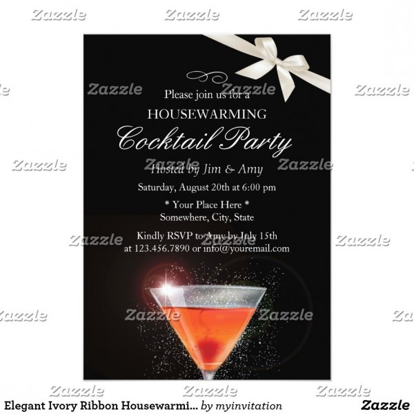 Elegant Ivory Ribbon Housewarming Cocktail Party Invitation