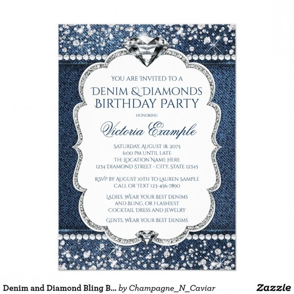 Denim And Diamond Bling Birthday Party Invitations In 2018