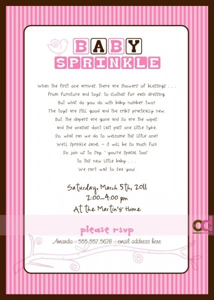 Sprinkle  Invitations Wording